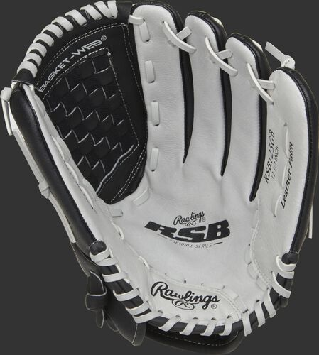 RSB125GB Rawlings softball infield/outfield glove with a grey palm and grey laces