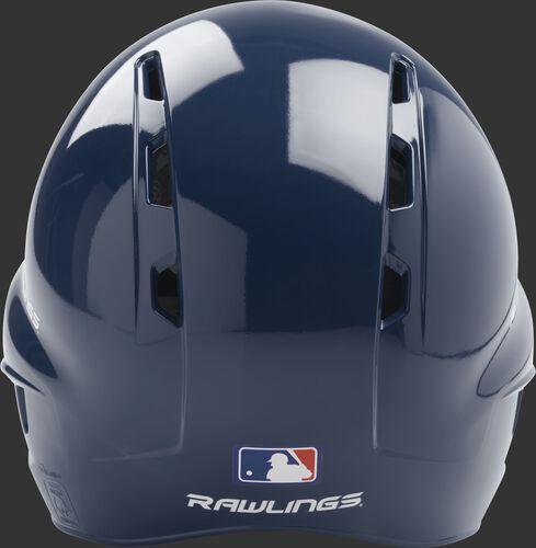 Back of a navy Rawlings t-ball helmet with the MLB logo on the bottom - SKU: MODMLTBFG-N