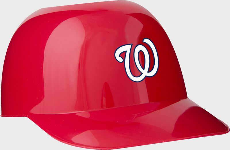 Front of Rawlings red MLB Washington Nationals Snack Size Helmets With Team Logo SKU #01950031121