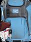 Wallet, keys, and batting gloves in the front valuables pocket of a Columbia blue Franchise baseball bag - SKU: FRANBP-CB image number null