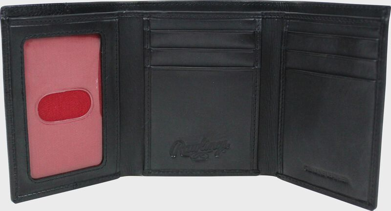 Inside of a black RW80003-001 Rawlings tri-fold wallet with 6 credit card slots and clear ID window on the left