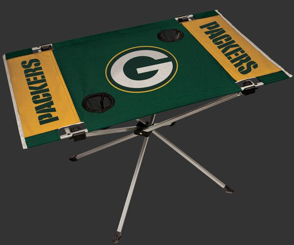 Rawlings Green and Yellow NFL Green Bay Packers Endzone Table With Two Cup Holders, Team Logo, and Team Name SKU #03391068111
