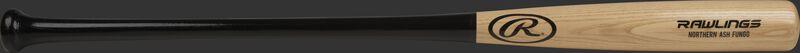 Barrel of a 114RAF Northern Ash fungo bat with a natural color barrel and black handle