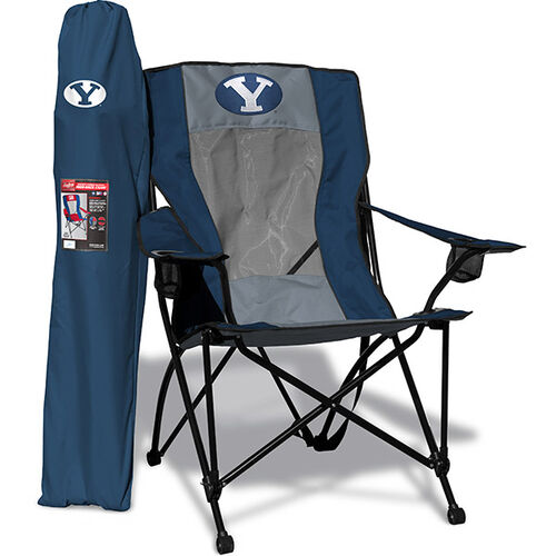 Front of Rawlings Navy and Grey NCAA Brigham Young Cougars High Back Chair With Team Logo SKU #09403008518