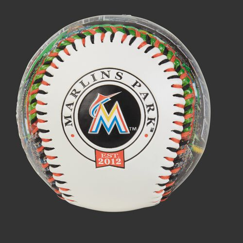 Miami Marlins team logo on a MLB stadium baseball