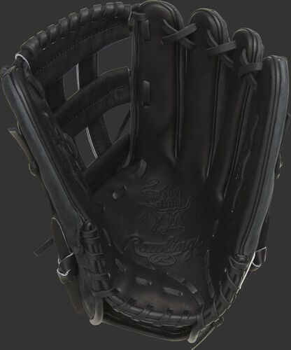 Black palm of a Rawlings Gameday 57 Series Cody Bellinger glove with a black web and black laces - SKU: PRO442-CB35
