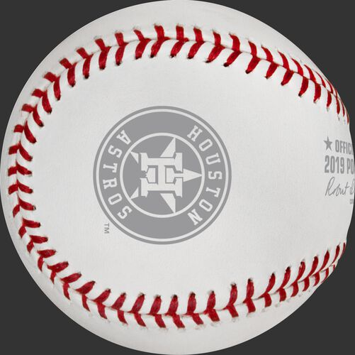 Houston Astros logo stamped on a ALCS19CHMP 2019 American League Champions commemorative baseball
