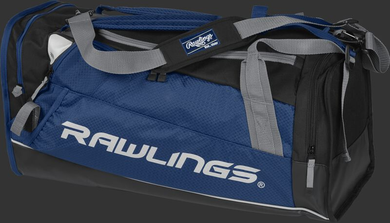 Side angle view of a navy R601 Rawlings Hybrid duffel backpack