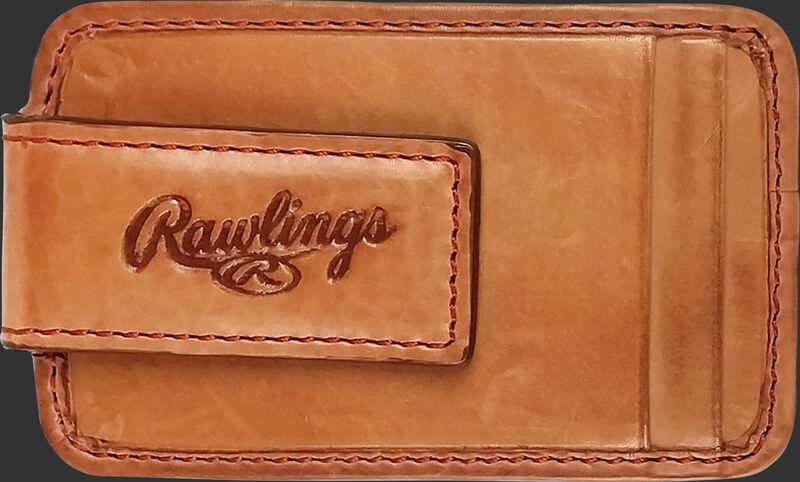 An embossed Rawlings logo on the clip of a tan MW494-204 leather money clip with two additional credit card slots