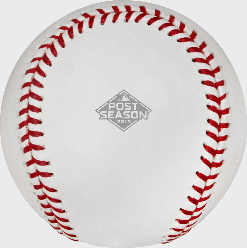 The 2019 MLB Postseason logo stamped on the ALCS19DL 2019 ALCS dueling baseball