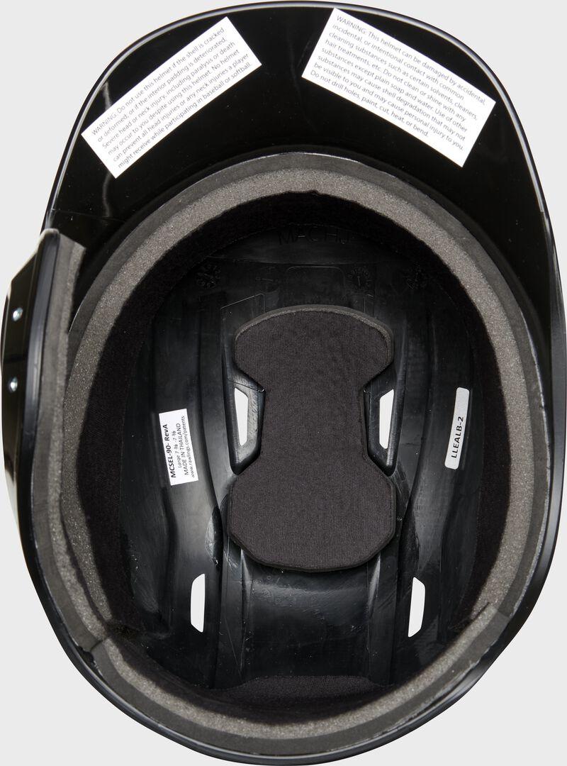 Inside padding of a black Rawlings Mach single ear helmet - SKU: MSE01A-LHB
