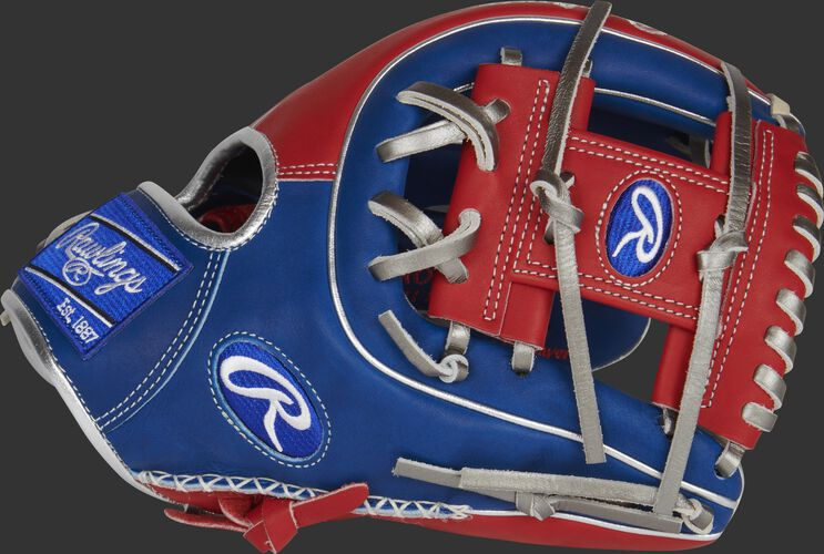 Thumb of a scarlet/royal 2021 exclusive Heart of the Hide R2G infield glove with a scarlet I-web - SKU: RSGPROR314-2RS