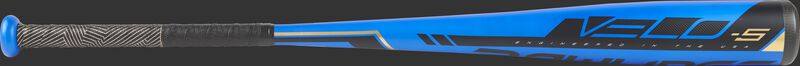 Blue barrel of a US9V5 2019 Velo USA baseball bat with black accents and black/gold grip