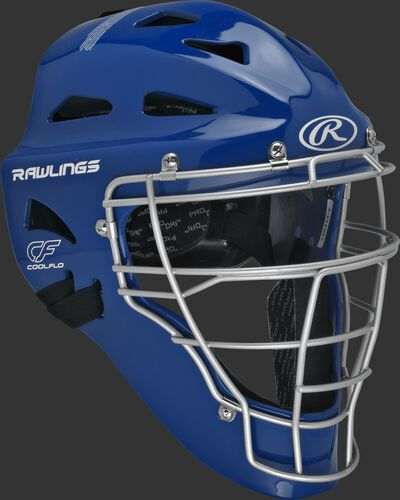 Front right of a royal CHRNGD Rawlings adult Renegade catcher's helmet