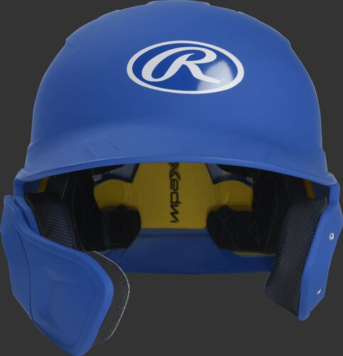 Front of a matte royal MACHEXTL junior size Mach batting helmet with face guard extension for left hand batters