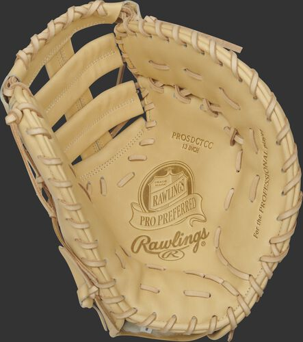 Camel palm of a Rawlings Pro Preferred first base mitt with a camel web and laces - SKU: PROSDCTCC