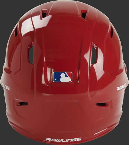 Back of a gloss scarlet MCC01 Mach batting helmet with the MLB logo sticker