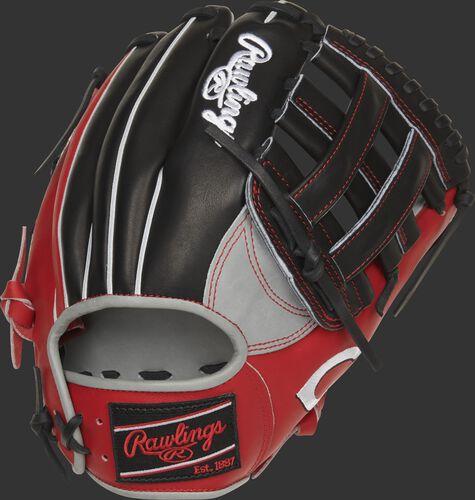 Back of a Cincinnati Reds H-web Heart of the Hide glove with a black Rawlings patch - SKU: RSGPRONP4-6CIN