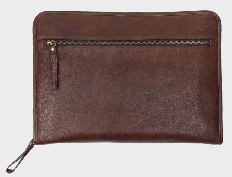 Back of a brown Rawlings rugged portfolio with a zippered compartment - SKU: V614-200