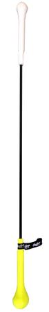 A white/black/yellow HITSTIK swing training bat