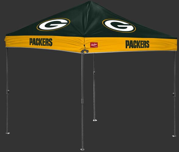 A green/yellow NFL Green Bay Packers 10x10 canopy with team logos on each side - SKU: 02231068111