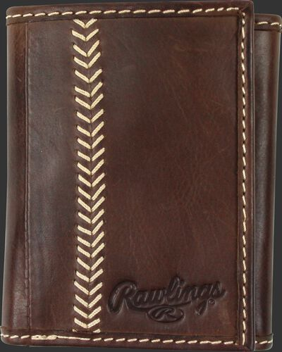 A brown MW478-201 Baseball Stitch tri-fold wallet folded close with tan stitching on the left and embossed Rawlings logo