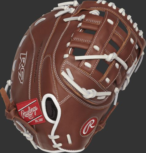 R9SBFBM-17DB 12.5-inch R9 Series first base softball mitt with a brown back and Overlapping Fastback design