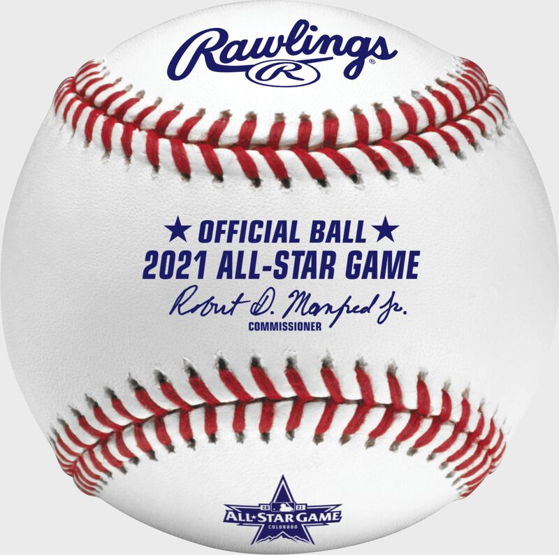 A 2021 Rawlings MLB commemorative All-Star game baseball with the 2021 ASG logo and red/blue stitching - SKU: EA-ASBB21CR-R