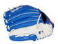 Back of a blue/white LA Dodgers youth infield glove with the MLB logo on the pinky - SKU: 22000011111 image number null