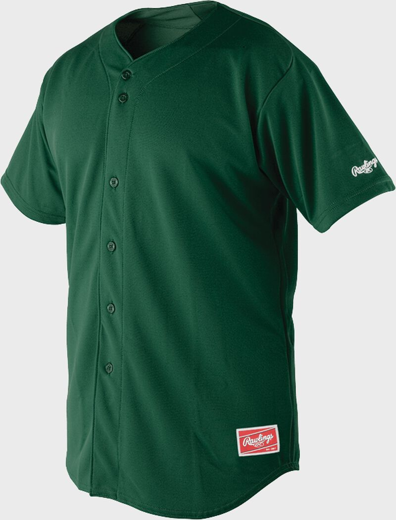 Front of Rawlings Dark Green Adult Short Sleeve Jersey  - SKU #RBJ150