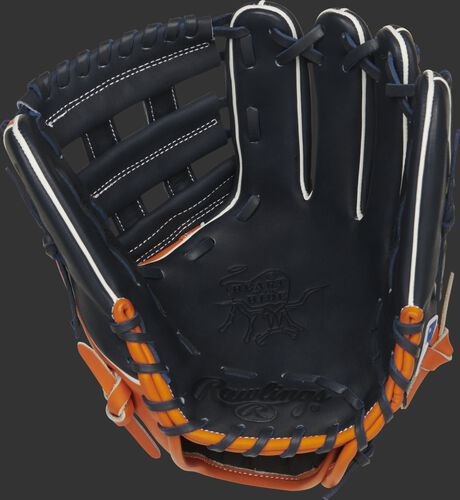 Navy palm of a Rawlings Detroit Tigers HOH glove with navy laces - SKU: RSGPRO204W-6DET
