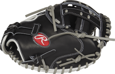 PROCM33FP-24BG Heart of the Hide 33-inch fastpitch catcher's mitt with a black thumb and black Modified H web