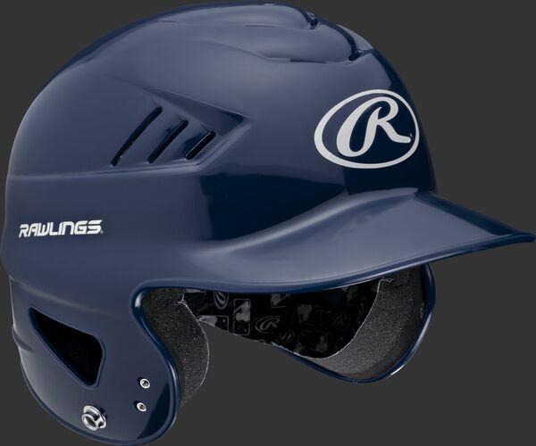 Right anlge of a navy RCFTB Rawlings t-ball helmet with Coolflo vents