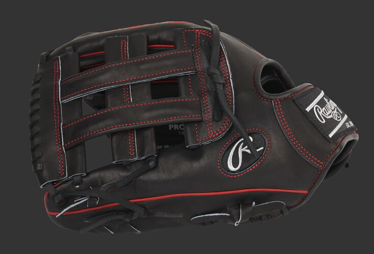 Black thumb of an exclusive Pro Preferred 12.75-Inch outfield glove with a black H-web - SKU: PROS3029-6B