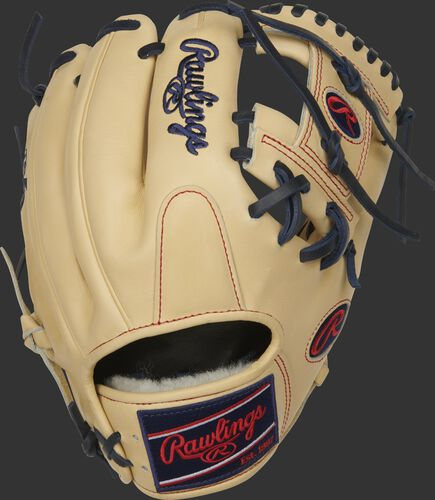 Camel back of a 2021 Pro Preferred I-web glove with a navy Rawlings patch - SKU: PROS204-2C