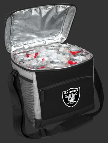 An open Las Vegas Raiders 24 can cooler filled with ice and drinks - SKU: 10211072111