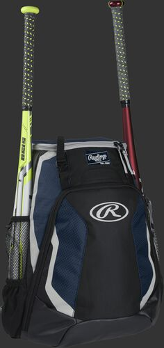 Right side of a black/navy R500 Rawlings baseball backpack with a white bat in the bat sleeve