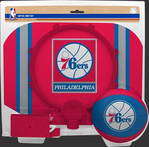 Rawlings Red and Blue NBA Philadelphia 76ers Softee Hoop Set With Team Logo on Ball and Backboard SKU #03544196114