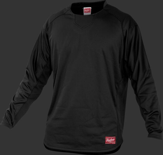 Front of Rawlings Black Adult Long Sleeve Shirt - SKU #UDFP3