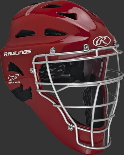 Scarlet Cool-Flo youth catcher's helmet with silver cage