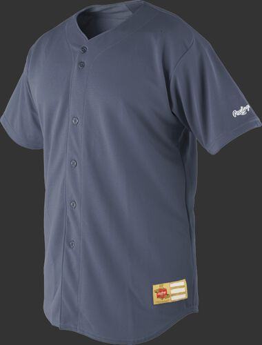 Front of Rawlings Graphite Adult Short Sleeve Jersey  - SKU #RJ140