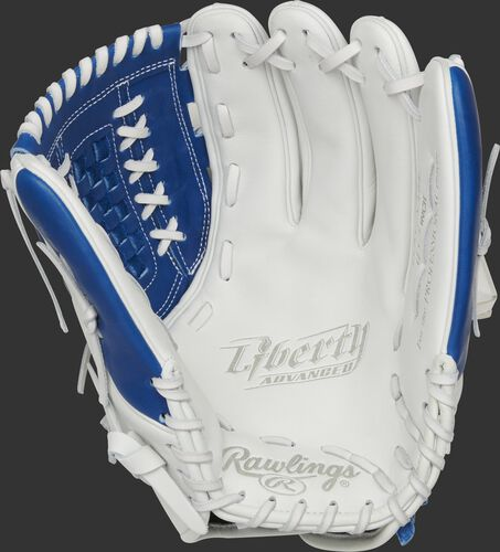 RLA125-18R Rawlings Liberty Advanced Color Series glove with a white palm and white laces