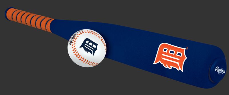Side of Rawlings Detroit Tigers Foam Bat and Ball Set in Team Colors With Team Name and Logo On Front SKU #01860027111