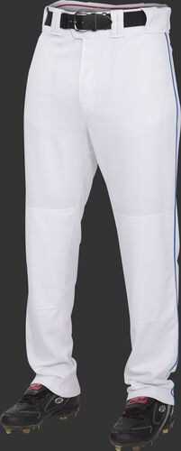 Front of Rawlings White/Royal Adult Semi-Relaxed Piped Pant - SKU #PRO150P-BG/DG-90