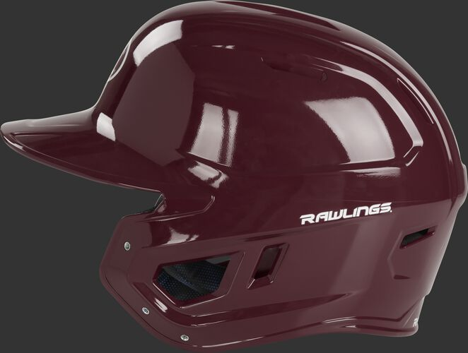 Left side ear flap of a maroon MCH01A Mach baseball batting helmet