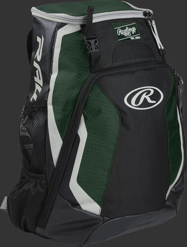 Right side of a black/dark green R500 Rawlings Players equipment backpack with white trim