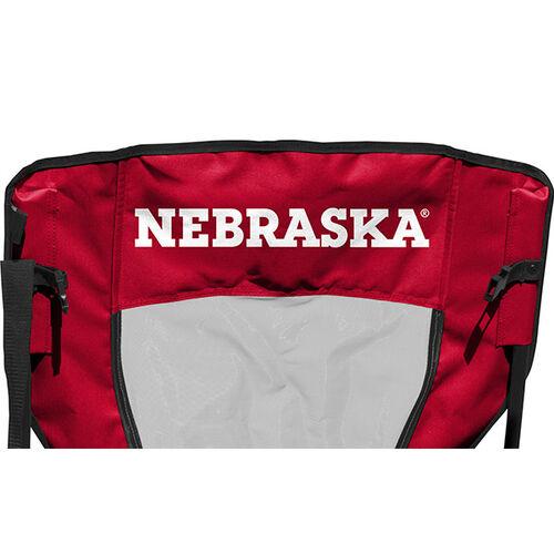 Back of Rawlings Red and Black NCAA Nebraska Cornhuskers High Back Chair With Team Name SKU #09403089518