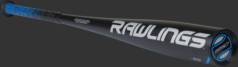 White Rawlings logo on the barrel of a black 5150 -5 youth baseball bat with a black end cap - SKU: US155