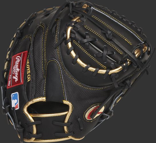 Black mesh back of a Yadier Molina G57 HOH catcher's mitt with a black 1-piece solid web - SKU: RSGPROYM4G