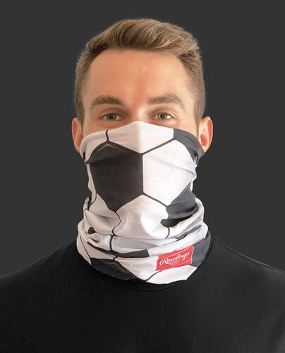 A guy wearing a soccer design adult neck gaiter over his mouth and nose - SKU: RC40006-100